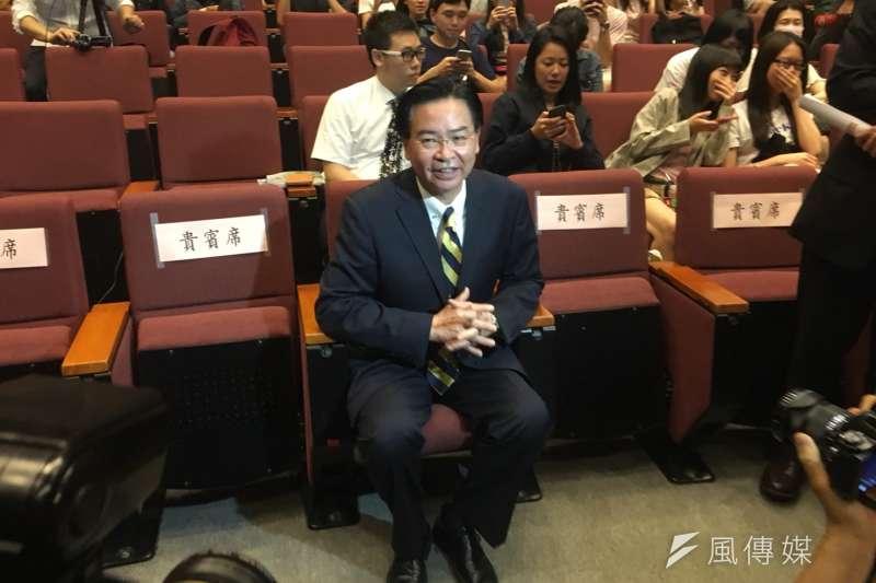 20180525-外交部長吳釗燮25日前往母校政治大學進行演講。(李亞璇攝)