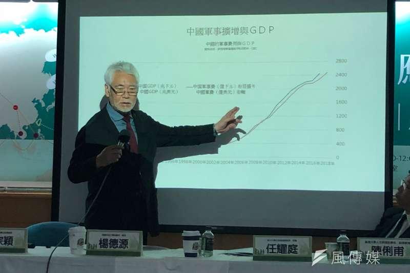 產經新聞特別記者、編輯兼論說委員田村秀男指出,中國的軍事發展跟GDP是以同等的速度成長,美元一直在幫助中國成長,讓其成為強大的經濟體。(黃宇綸攝)