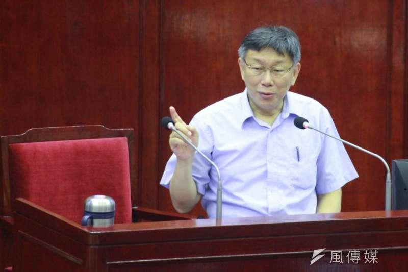 20180531-台北市長柯文哲31日出席台北市議會總質詢。(方炳超攝)