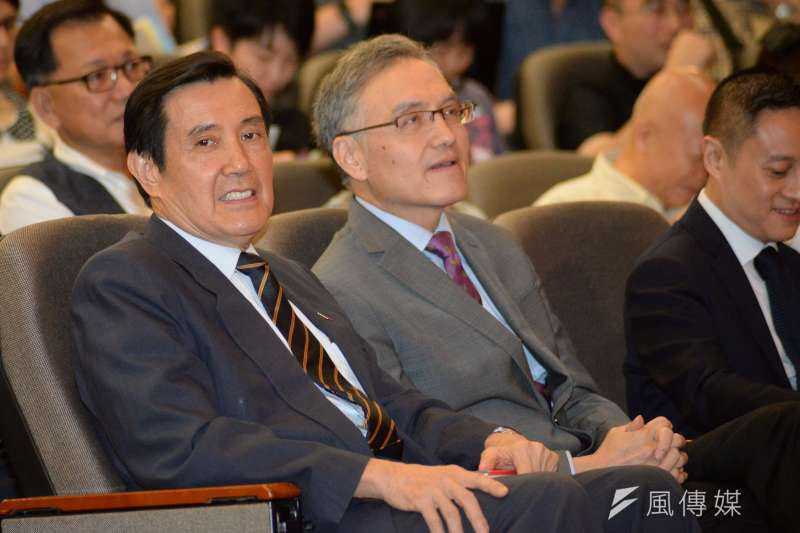 20180601-長風基金會講座,前總統馬英九在觀眾席聆聽。(甘岱民攝)