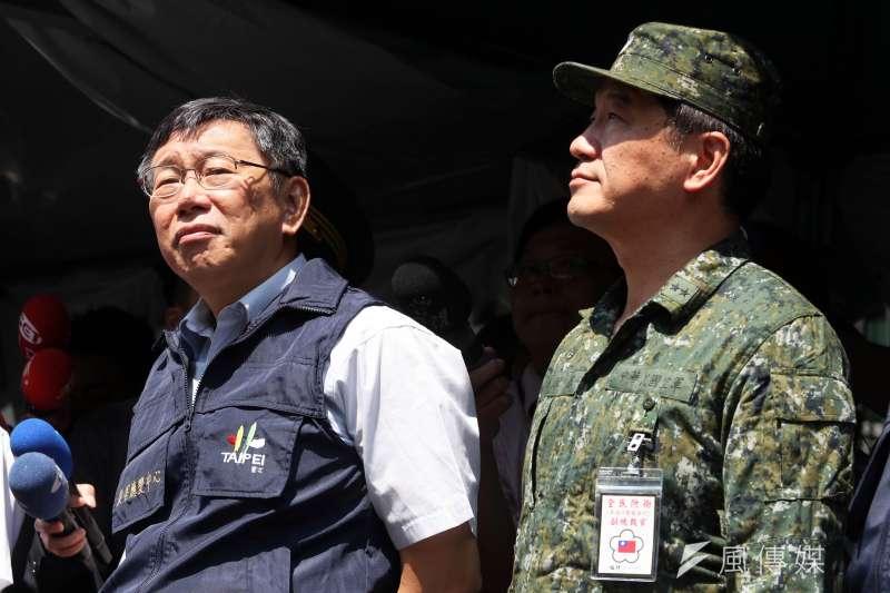20180604_萬安41號演習,萬安演習。柯文哲(左)、統裁部副統裁官、空軍副司令熊厚基中將(右)。(蘇仲泓攝)
