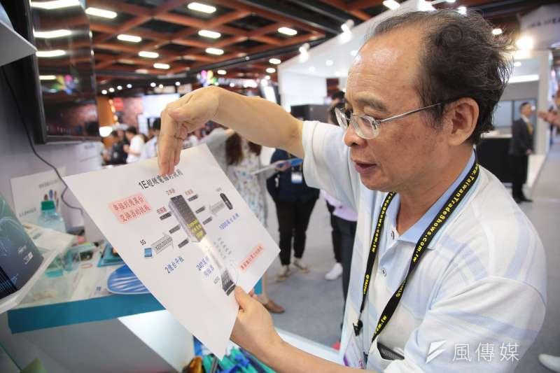 20180605-成功大學黃吉川教授5日於2018台北國際電腦展科技部國際產學聯盟攤位,公佈超級電腦設計之雛形。(顏麟宇攝)