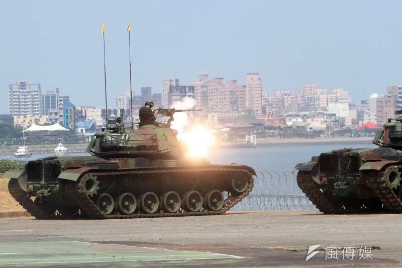 20180605-漢光34號演習,淡水河防演練,關指部CM-11戰車模擬對敵射擊。(蘇仲泓攝)