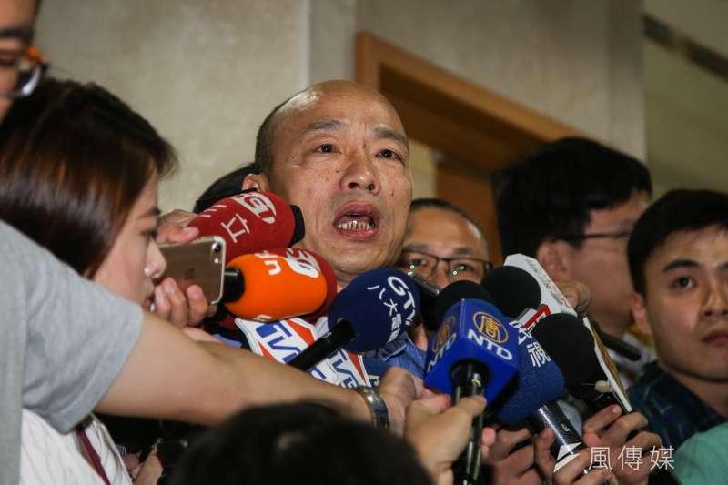 北農前總經理韓國瑜今(14)日以被告及證人身份到北檢應訊。(陳明仁攝)