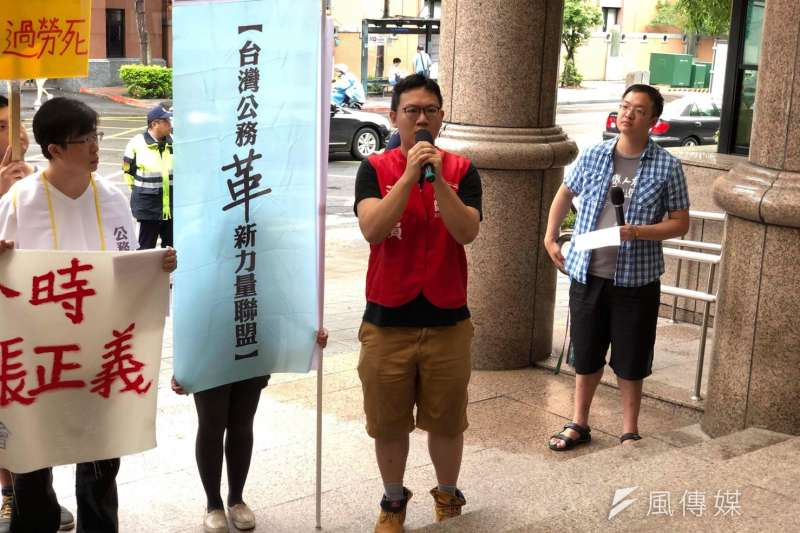 台灣警察工作權益推動協會與其他團體則捍衛基層警察權益,紅衣消促會秘書長朱智宇。(警工會提供 )
