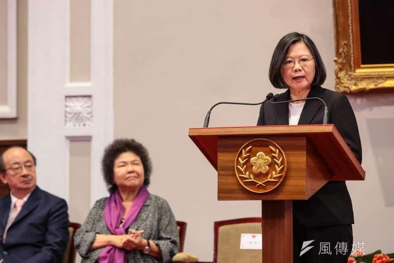 總統蔡英文21日針對年金改革方案通過出席總統府說明記者會。(顏麟宇攝)