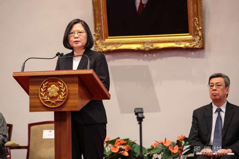 蔡英文總統針對年金改革方案通過出席總統府說明記者會。(顏麟宇攝)