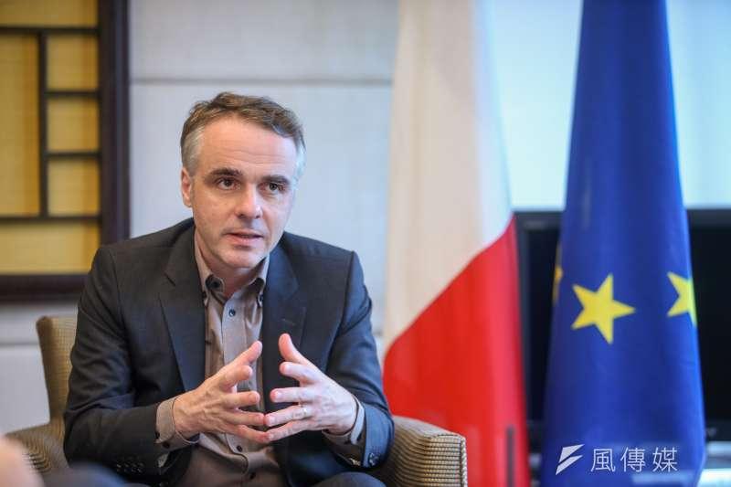 法國在台協會主任紀博偉表示,台灣具有3大優勢吸引法國企業。(陳明仁攝)