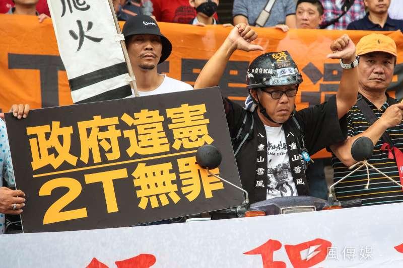 北區反禁二行程聯盟舉行「二行程機車無罪,拒絕消滅二行程」記者會。(顏麟宇攝)