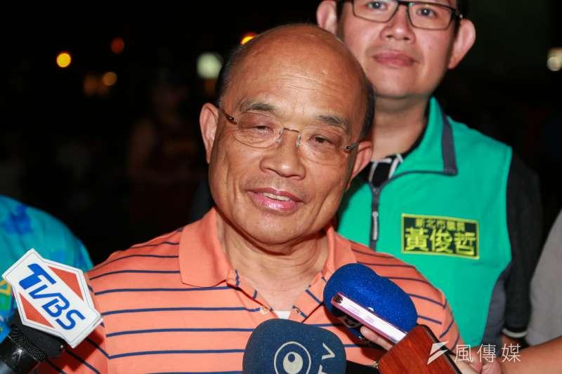 民進黨新北市長參選人蘇貞昌今(30)表示,自家的財產自己要講清楚、受檢驗,過去侯一直不肯講清楚、一直閃躲,現在終於躲不過。(資料照,簡必丞攝)