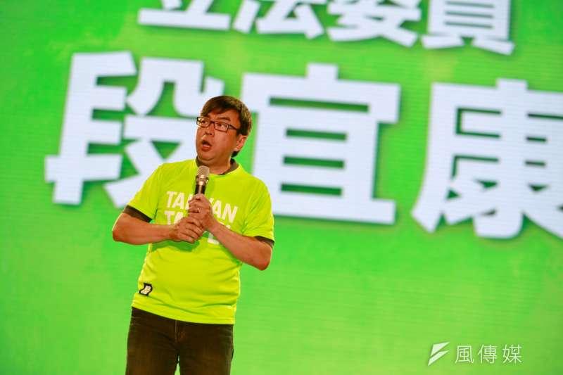 623民進黨台北市長參選人姚文智首場造勢晚會,民主進步黨不分區立委段宜康站台助講,營造全黨團結力挺氛圍。(簡必丞攝)