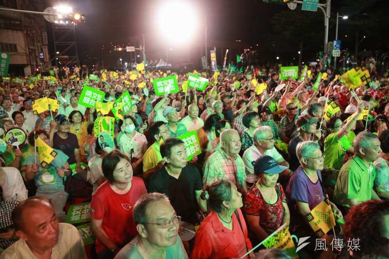 20180623-623民進黨台北市長參選人姚文智首場造勢晚會,許多民眾到場支持。(簡必丞攝)