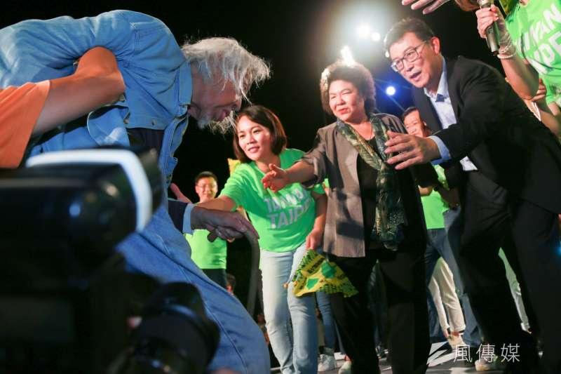 民進黨台北市長參選人姚文智首場造勢晚會。(簡必丞攝)