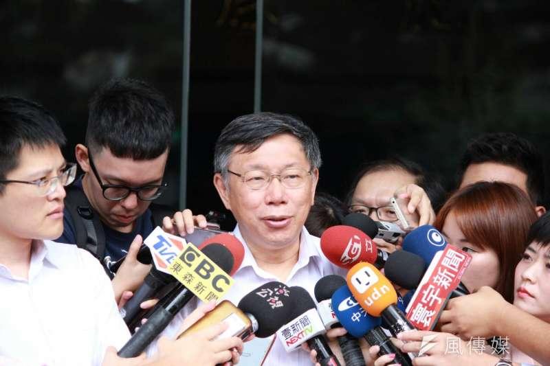 台北市長柯文哲今出席內政部都市計畫委員會審議社子島樹計畫,受媒體訪問時表示國家力量決定一切,力量不夠跟人家大聲小聲,只是被人家笑而已。(資料圖,方炳超攝)