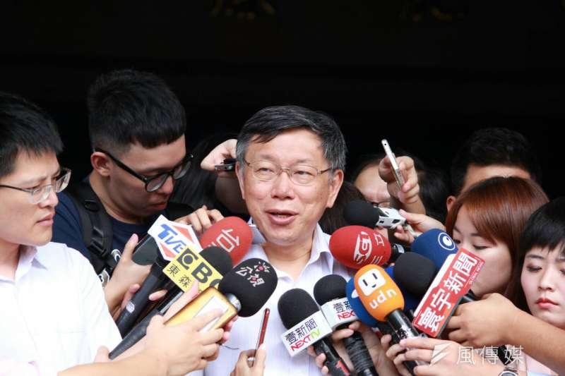 台北市長柯文哲出席內政部都市計畫委員會審議社子島樹計畫。(方炳超攝)