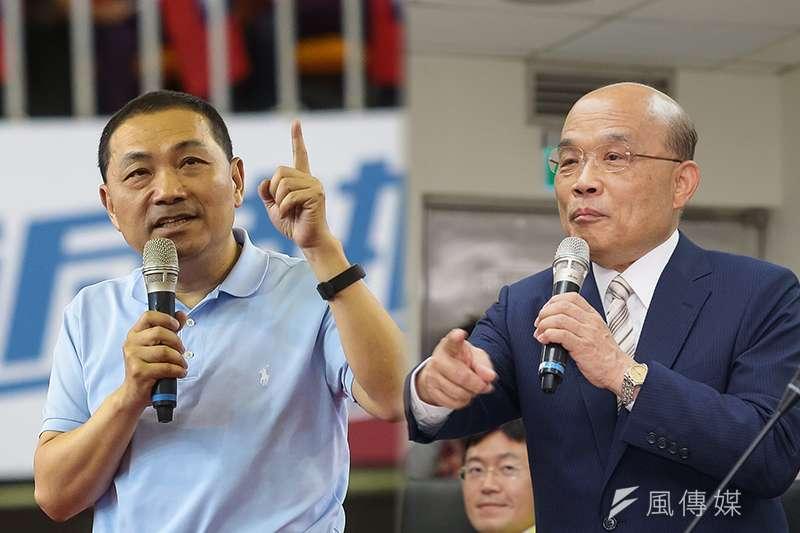 TVBS民調指出,國民黨新北市長參選人侯友宜(左)的支持度為48%,民進黨參選人蘇貞昌(右)則為29%,落後侯近2成。(資料照,顏麟宇、盧逸峰攝/風傳媒影像合成)