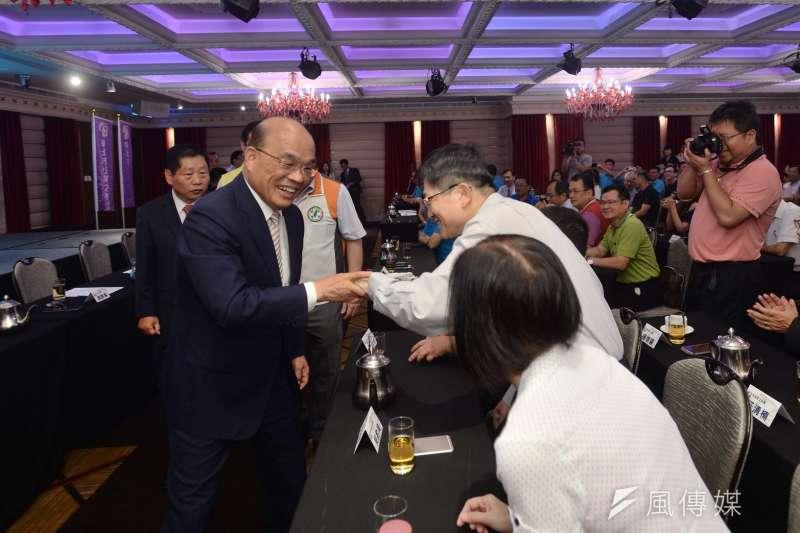 民進黨新北市長參選人蘇貞昌今(30)指出,新北市30年以上屋齡的房屋數量是「全台之冠」,如未來當選市長後,將加速推動都更。(蘇貞昌競選辦公室提供)