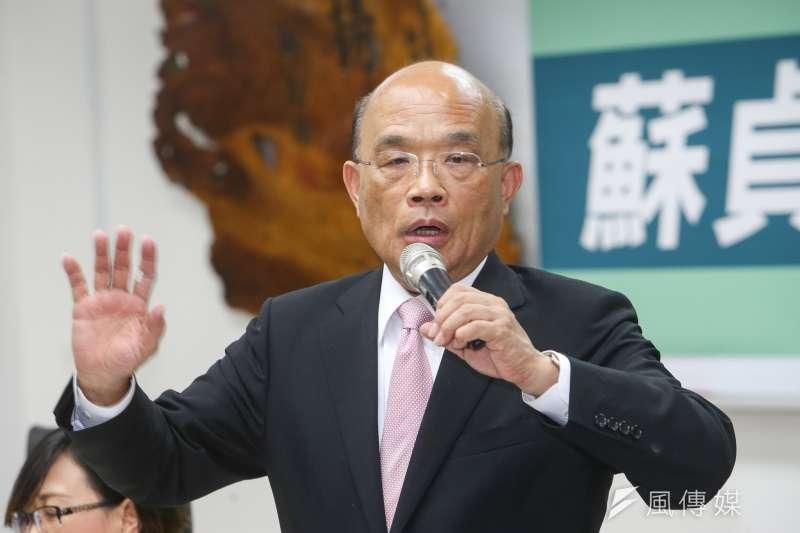 新北市長參選人蘇貞昌表示,全世界對台灣最不友善,甚至飛彈1000多顆瞄準台灣的就是中國,所以中國對台灣並不親。(資料照,陳明仁攝)