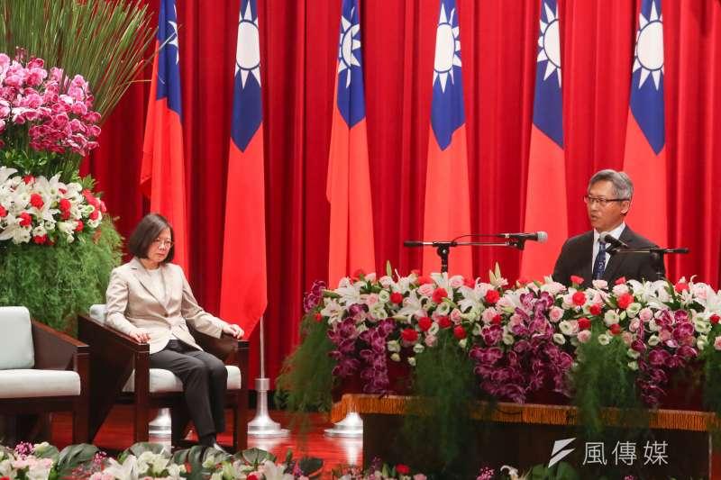 20180702-總統蔡英文出席中研院院士會議開幕式並致詞,右是中研院院長廖俊智。(陳明仁攝)