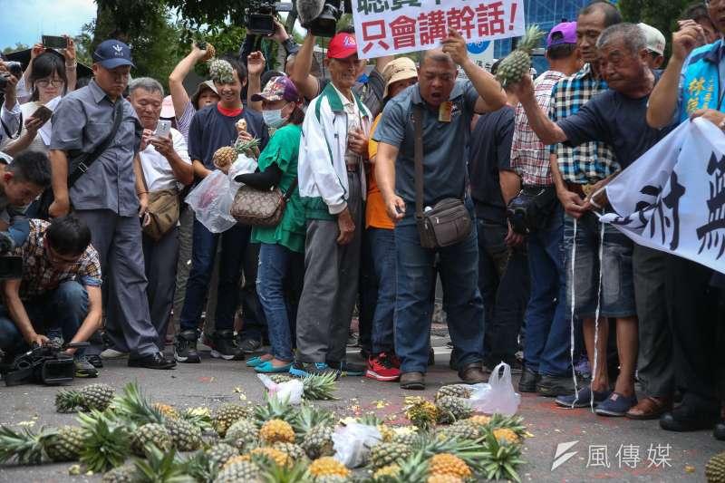 20180704-南部鳳梨農4日北上到行政院抗議價格崩盤,並怒丟鳳梨。(陳明仁攝)