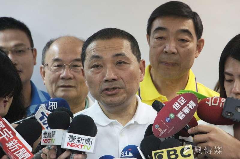 國民黨新北市長候選人侯友宜接受媒體訪問。(陳韡誌攝)