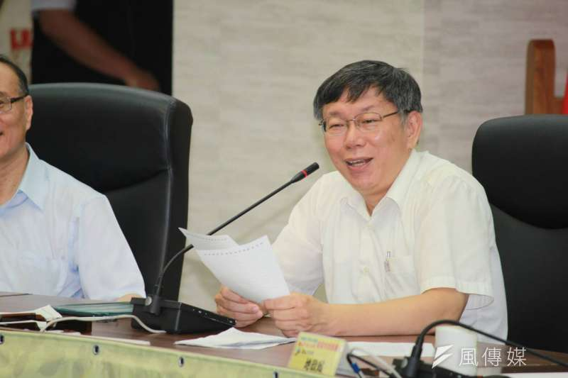 台北市長柯文哲說,國防很花錢,台灣還是需要爭取時間,要先有自保能力。(方炳超攝)