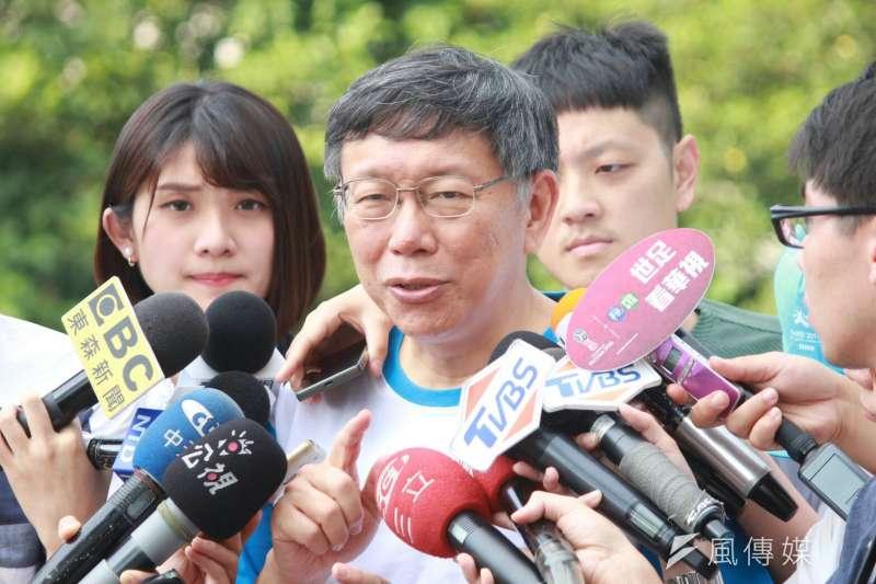 台北市長柯文哲說,他向遠雄講,我們不會刁難,但也不可能放水,公開透明送進來審,審查會過那就會過,接受整個社會檢驗。 (方炳超攝)