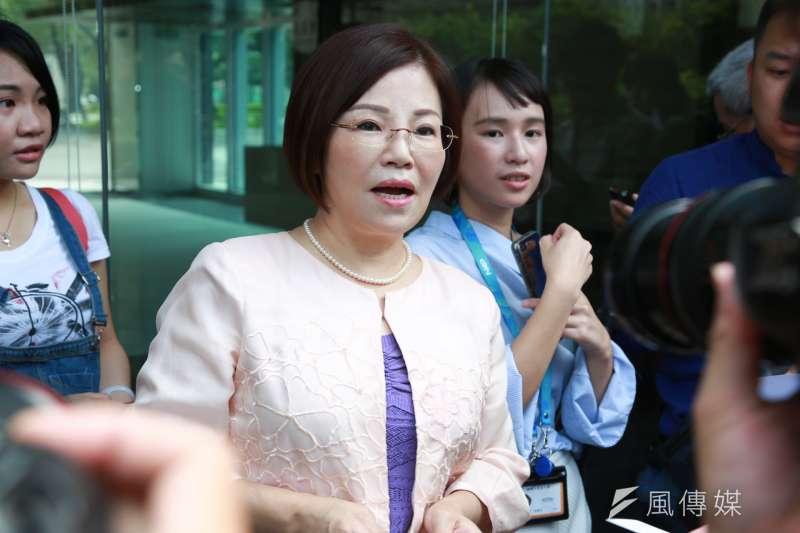20180706-國民黨前主席連戰辦公室發言人郭素春擔任「連主席大陸參訪記者會」的代表。(簡必丞攝)
