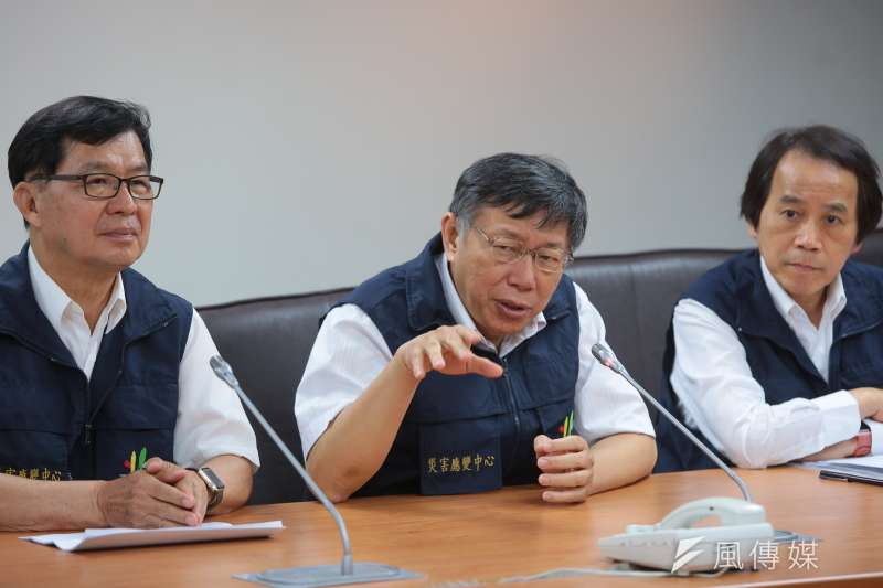 台北市長柯文哲到台北市災害應變中心視察。(顏麟宇攝)