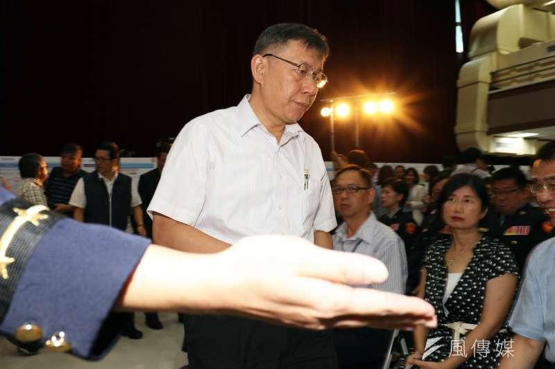 20180712-台北市長柯文哲出席巡邏箱電子化系統啟用儀式記者會。(蘇仲泓攝)