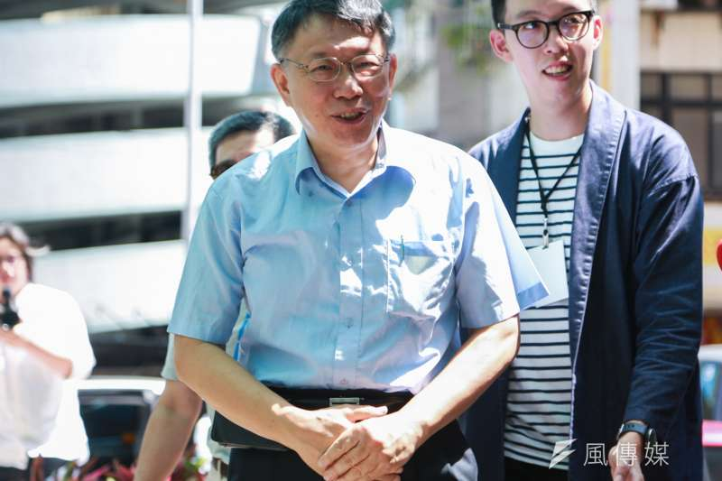 台北市長柯文哲競選辦公室海選中。(簡必丞攝)
