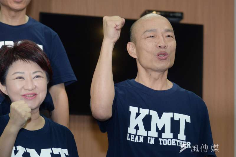 針對民調落後一事,國民黨高雄市長參選人韓國瑜表示,民進黨最希望看到的民調是100比0,但民調有高有低,都是參考而己。(資料照,甘岱民攝)