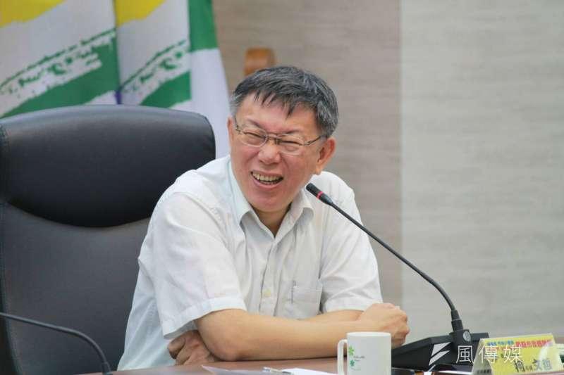 台北市長柯文哲16日上午出席暑期市政體驗營第3梯高中職組開幕式。(方炳超攝)