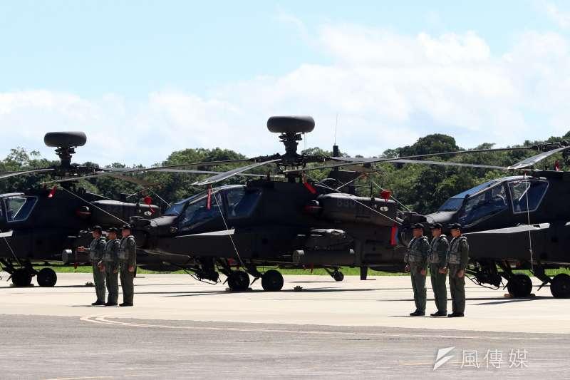 20180717-國軍AH-64E阿帕契攻擊直升機17日在龍潭舉辦成軍典禮,圖為AH-64E攻擊直升機。(蘇仲泓攝)