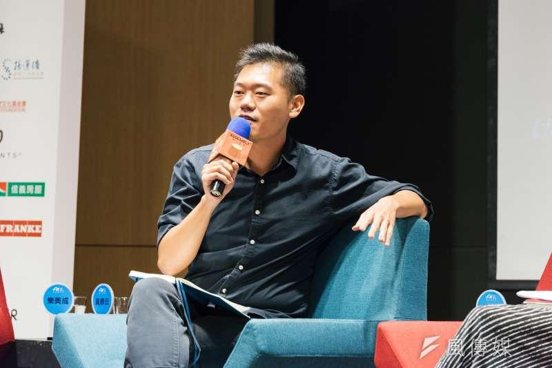 20180718-邁入第20屆的台北藝術節,於17日晚間舉辦「展演藝術老實樹」論壇,邀集4位致力將作品帶到城市各角落的創作者,與台北市長柯文哲對談。明日和合製作所創作者黃鼎云。(台北表演藝術中心提供)