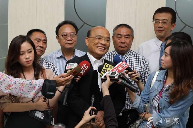 新北市長參選人蘇貞昌19日拜訪新店農會。(蘇貞昌辦公室提供)