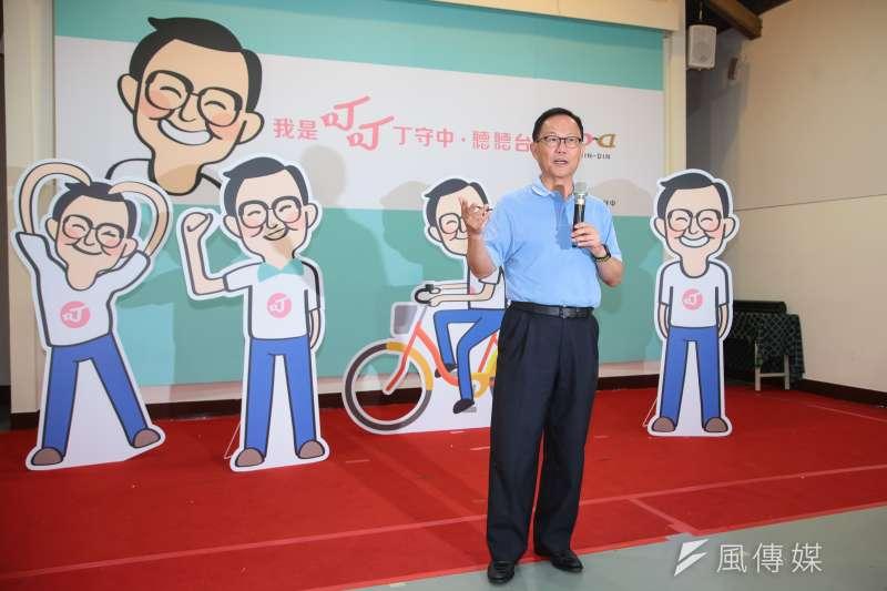 20180723-國民黨台北市長參選人丁守中23日出席「我是叮叮丁守中,聽聽台北」主視覺、Q版人像公仔與Logo發布會。(顏麟宇攝)