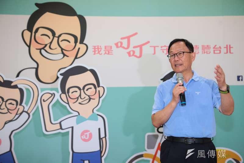 國民黨台北市長參選人丁守中昨(23)日出席「我是叮叮丁守中,聽聽台北」主視覺、Q版人像公仔與logo發布會。(資料照,顏麟宇攝)