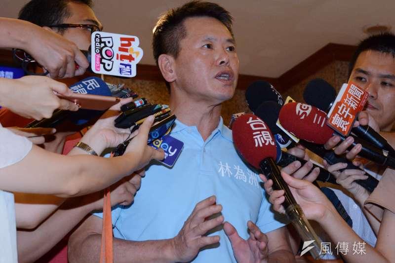 林為洲日前決定參選新竹縣長選舉,接受記者聯合提問。林為洲(龍德成攝)