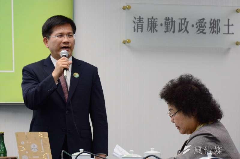 台中市長林佳龍拆嗆聲公車。圖為林佳龍出席民進黨中常會。(龍德成攝)