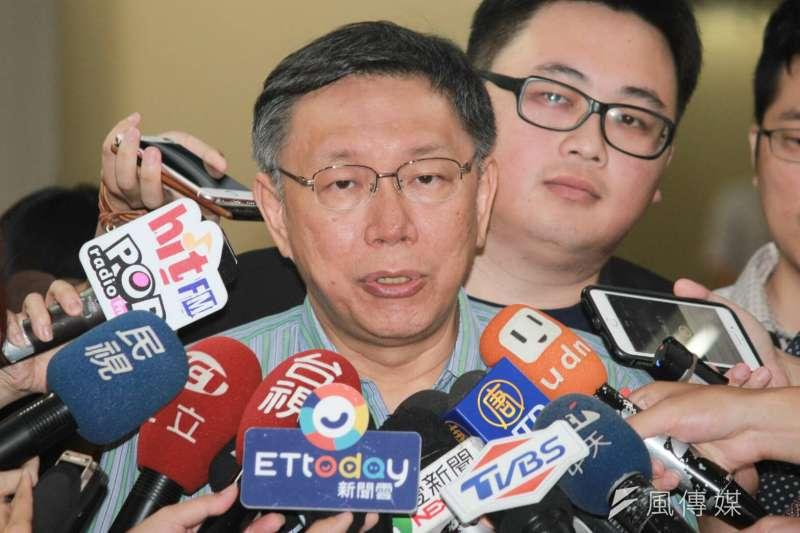 中國因不滿台灣民間推動東京奧運正名活動,因而打壓2019台中東亞青運,蠻橫決議停辦。台北市長柯文哲25日上午受訪時表示,這件事很清楚,北京政府不了解台灣社會,這件事不僅是台中市民會不滿,也會造成台灣人民的不滿,他認為這是不智的行為。 (方炳超攝)