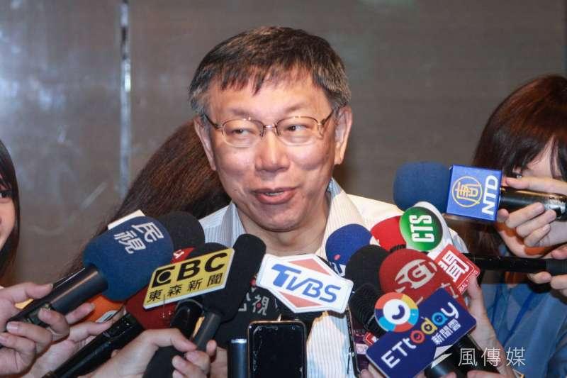 台北市長柯文哲今(27)日出席都市更新論壇活動。(方炳超攝)