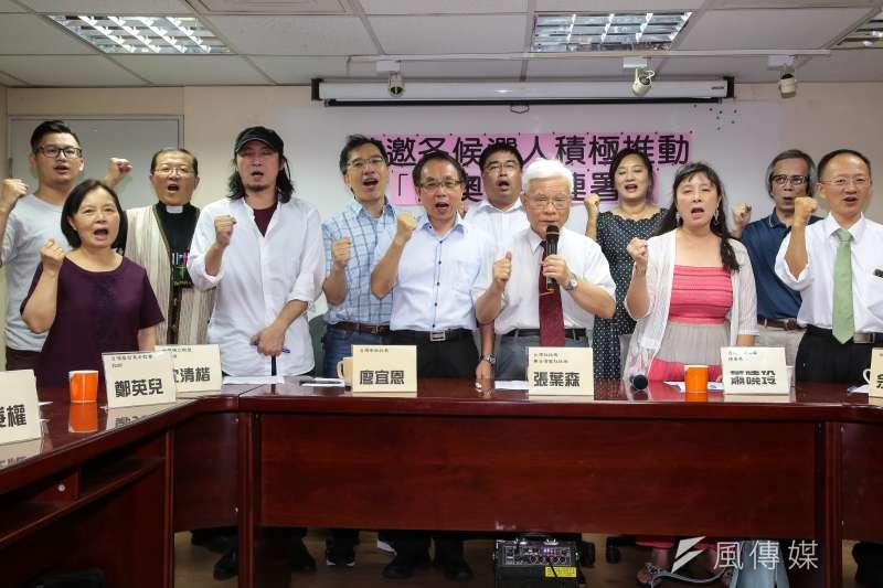 台灣社社長張葉森及各獨派團體代表召開「敬邀各候選人積極推動東奧正名聯署」記者會,但迴響有限。(顏麟宇攝)
