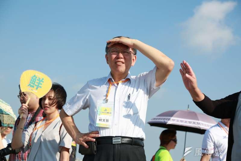 20180729-台北市長柯文哲至漁人碼頭與新竹市政府交流。(簡必丞攝)