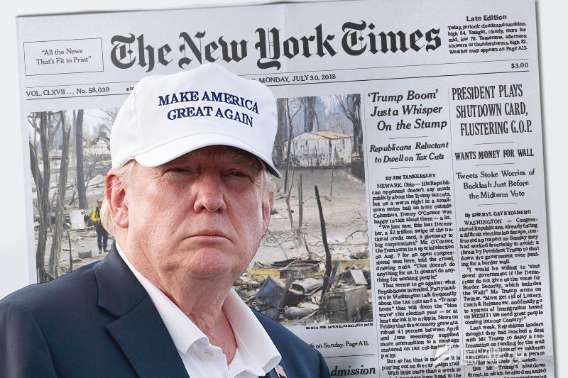 美國總統川普素與美國媒體交惡,像是他經常在推特大罵《紐約時報》的報導是假新聞(AP,風傳媒製圖)