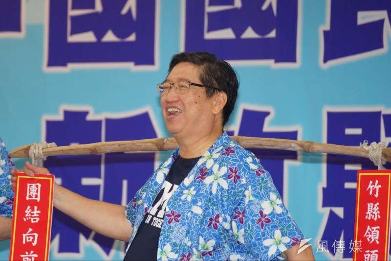 國民黨新竹縣長參選人楊文科說,他一路走來一心一意要為國家、為黨、為民眾做事,他坦蕩蕩、沒包袱,希望為國民黨在新竹縣可以藍天永續。(盧逸峰攝)