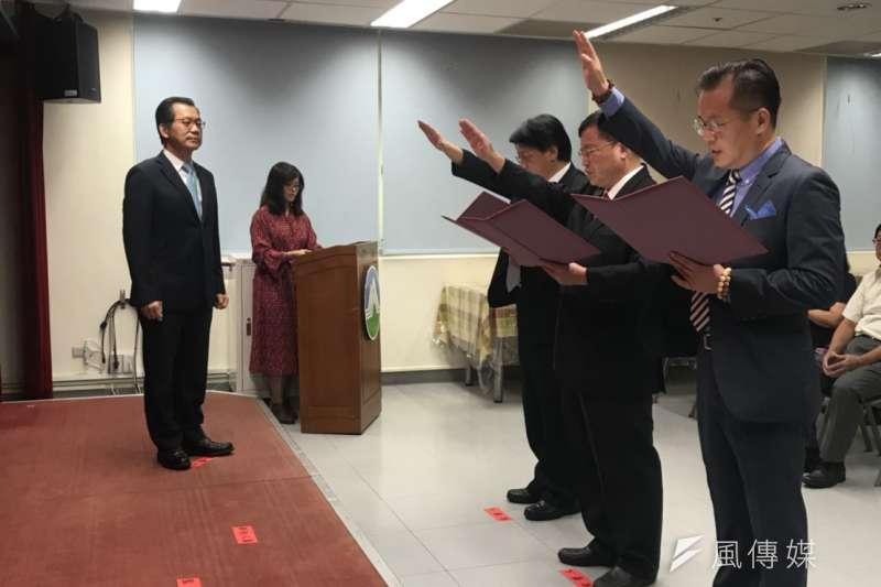 環保署1日舉行人事異動交接典禮,新版《空氣污染防制法》也在同日正式生效。(廖羿雯攝)