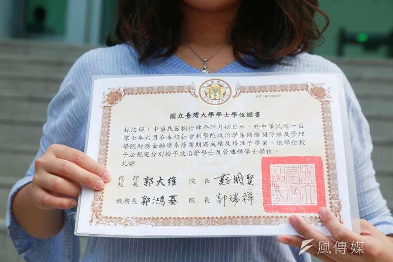 20180806-大學自主聯盟於台北高等行政法院門口短講,大學自主聯盟發言人林汶郁手拿畢業證書表達對於台灣大學沒有正式校長的不滿。(簡必丞攝)