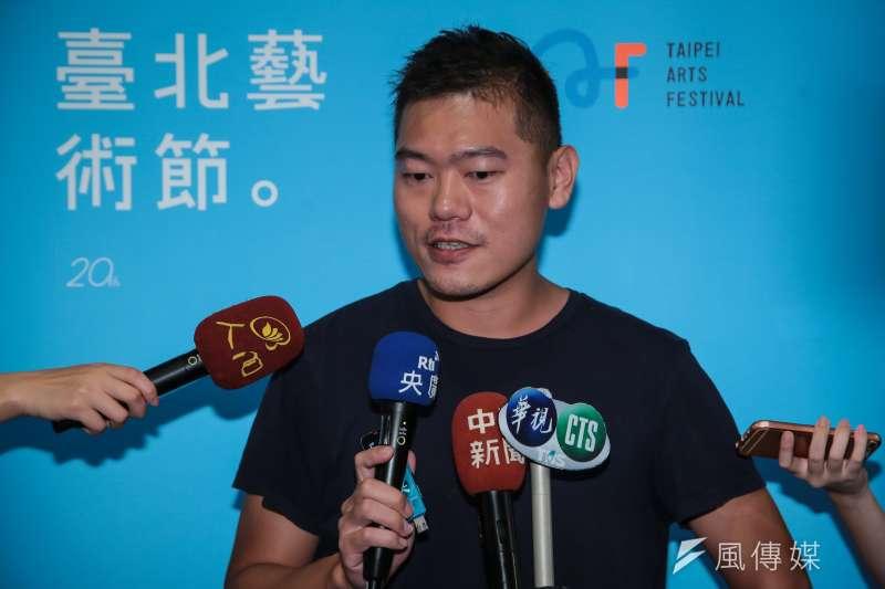 20180809-明日和合製作所黃鼎云9日於「第20屆台北藝術節」開幕記者會演出後受訪。(顏麟宇攝)