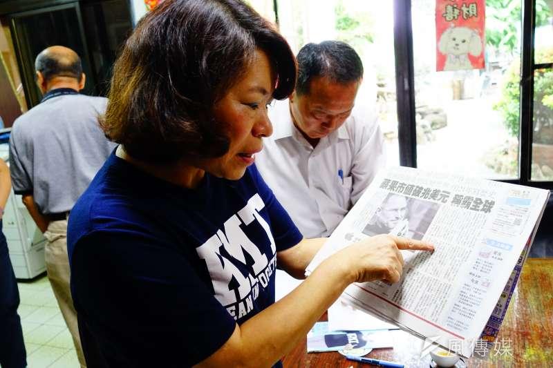 20180812-國民黨提名的嘉義市長參選人黃敏惠,以前蘋果董事長賈伯斯為借鏡,賈伯斯一度離開蘋果又「回鍋」,證明「回鍋」並非壞事。(羅暐智攝)